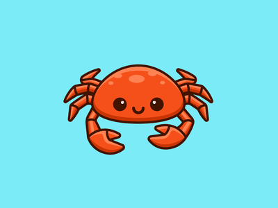 Crab bold outline comic playful fun friendly lovely kid claw ocean seafood cartoon mascot illustration character adorable cute sea animal crab