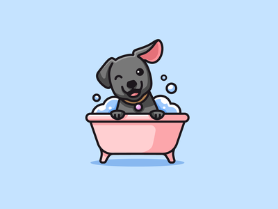 Dog Grooming cute happiness smile puppy doggy water bubble bathroom bath fun playful happy grooming pet dog outline symbol character cartoon logo