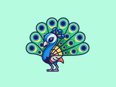 Peacock exotic sticker design cartoon peafowl colorful mascot character adorable cute beauty elegant pretty quill tail feather beautiful peacock bird animal illustration