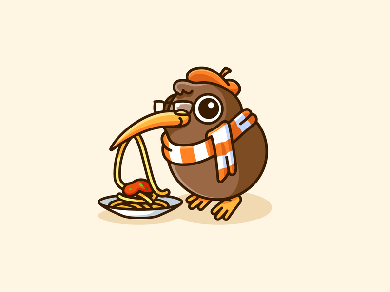 Kiwi the Food Critic critic playful fun eat taste reviewer coffee shop restaurant review spaghetti critique food lovely illustrative logo character mascot logo adorable cute bird kiwi