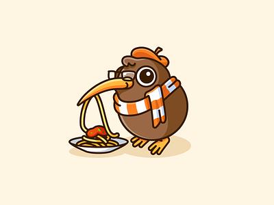 Kiwi the Food Critic critic playful fun eat taste reviewer coffee shop restaurant review spaghetti critique food lovely illustrative logo character mascot logo adorable cute bird kiwi