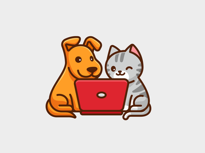 Coworker laptop cartoon cute character mascot illustrative identity logo playful fun animal puppy kitten cat dog wfh work from home job work coworker
