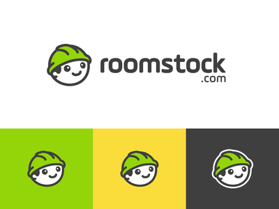 Roomstock iconic mark dynamic playful fun happy friendly minimalist simple cute icon symbol branding brand identity logo hard hat contractor worker construction
