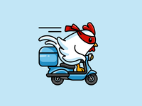Chicken Delivery! food restaurant mascot logo fast riding scooter motorcycle mask illustrative logo chicken delivery speed cartoon cute adorable funny playful fun identity logo
