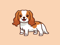 Cavalier King Charles Spaniel pooch canine beautiful hair furry bold outline pet doggy puppy mascot character cartoon breed happy adorable cute sticker design illustration dog cavalier king charles spaniel