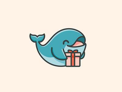 Gift Whale symbol happiness present box cartoon cute adorable happy sea fish wish wishlist giveaway gift whale character mascot logo identity logo illustrative