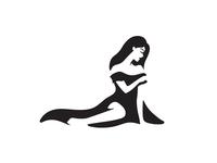 Woman in Dress gestalt black and white monochrome people human dress feminine simple identity brand branding logo clever smart negative space elegant beautiful girl women woman