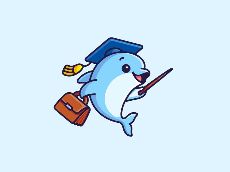 Dolphin Teacher teaching learning job bag simple friendly lecturer mentor graduation hat school kids children illustration character mascot adorable cute teacher fish dolphin