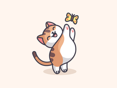 Cat Catching Butterfly mascot character holiday weekend positive joyful happy lovely kitty kitten funny fat catching playful adorable cute butterfly pet illustration cat