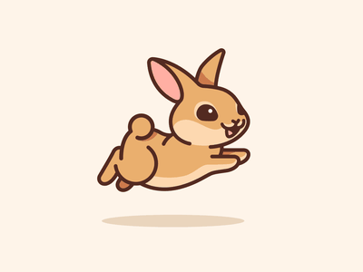 Bunny Jumping movement outline comic cartoon running dynamic pet simple lovely happy character mascot illustration adorable cute jumping binky animal rabbit bunny
