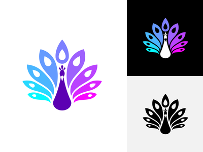 Peacock symbol abstract feminine woman luxury elegant feather leaf blue purple negative space simple beautiful bird animal peacock branding colorful identity logo