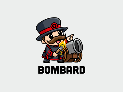Bombard bomb adorable cute attack fire cannon bodyguard security british royal guard fat yeoman warder bombard illustrative logo mascot character cartoon branding logo