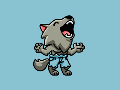 Werewolf cartoon scary animal lycanthrope mascot character horror creepy season spooky wolf happy playful funny helloween halloween adorable cute illustration werewolf