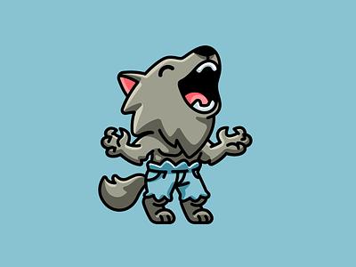 Werewolf cartoon scary animal lycanthrope mascot character horror creepy season spooky wolf happy playful funny helloween halloween adorable cute illustration werewolf