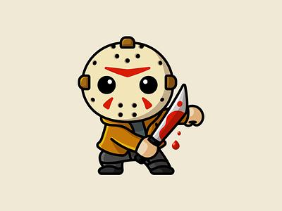 Jason friday the 13th blood mascot character illustration adorable funny cute mask knife murderer helloween season creepy killer horror jason halloween scary cartoon