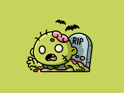 Zombie children cemetery rip cartoon mascot character illustration adorable cute resurrection dead bats graveyard helloween halloween spooky scary creepy monster zombie