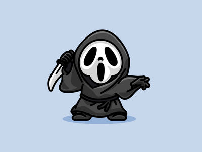 Ghostface movie adorable cute chibi mask skeleton spooky trick or treat helloween halloween knife murderer murder creepy scary mascot illustration character scream ghostface