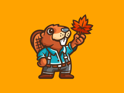 Sticker Beaver Character friendly cartoony lovely adorable standing cool happy cartoon cute animal lumberjack canada leaf maple beaver illustration mascot character