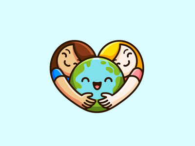 Children / World / Heart adorable cute globe world charity playful fun cartoon smart creative heart love earth hugging girl kids children branding identity logo