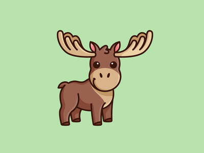 Moose chibi chubby kawaii friendly kids baby child happy smile outline cartoon character mascot lovely horn adorable cute illustration animal moose