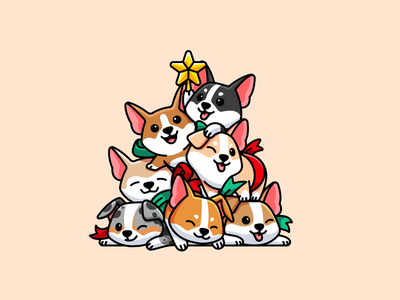 Christmas Corgi lovely cuddle character mascot cartoon funny gift puppy doggy warm holiday seasons greetings tree merry xmas christmas adorable cute illustration dog corgi