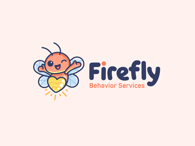 Firefly + Heart adorable happy bug behavior clinic fun playful glowing light hope care love heart kids children logo mascot cartoon cute firefly