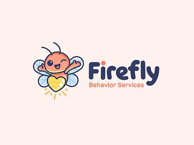 Firefly + Heart adorable happy bug behavior clinic fun playful glowing light hope care love heart kids children logo mascot cartoon cute firefly