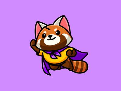Super Red Panda goal success jumping simple adorable cute mascot character illustration dream cape flying confidence wonder kid children child superhero animal red panda