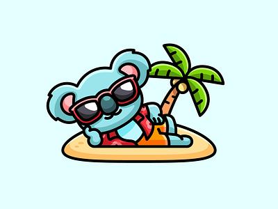 Koala on Holiday relaxing bali hawaii illustration mascot character adorable cute sunglasses cool happy tree palm beach travel vacation holiday australia bear koala