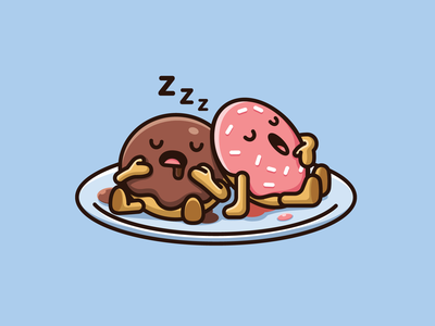 Sleeping Donuts lazy playful funny culinary eat snack dessert plate table mascot character snoring relaxing sleeping food donuts cartoon illustration adorable cute