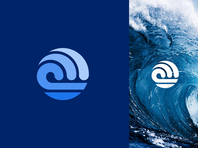 Ocean Waves splash idea concept circle circular initial o shape blue ocean curling wave water abstract mark symbol branding brand identity logo