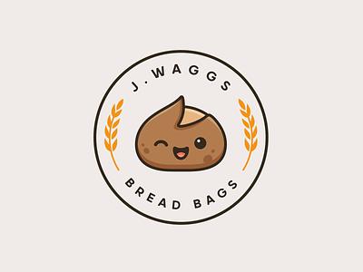 Sourdough Bread happy wink fun playful bag bakery linen circle circular mascot character adorable cute branding brand emblem crest logo bread sourdough
