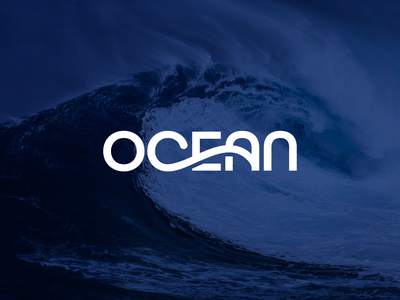 Ocean Logotype splash wave simple lettering wordmark playful dynamic creative unique flow water sea ocean custom font typography logotype branding brand identity logo