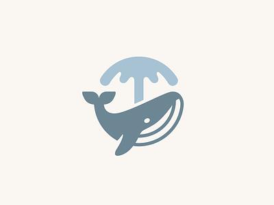 Whale Spouting splash circle circular ocean sea growth profit investment fountain water humpback fish mark symbol branding brand identity logo animal whale