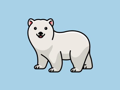Polar Bear predator wildlife winter white ice walking happy friendly adorable cute animal north antarctica arctic polar bear outline cartoon mascot character illustration