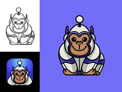 Personalized Apollo Character ios iphone friendly technology futuristic animal ape monkey kingkong adorable cute sketch app icon astronaut gorilla space illustration mascot character reddit apollo
