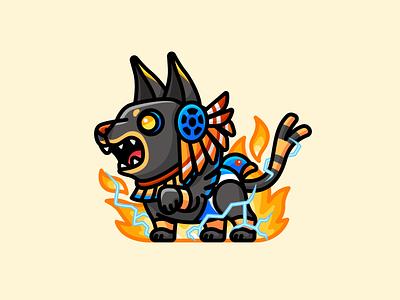 Xolotl culture cultural dead monster mythology animal character mascot illustration teeth lightning fire adorable cute serious scary dog god aztec xolotl