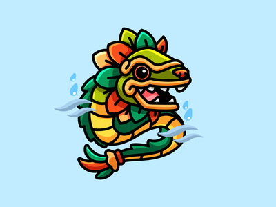Quetzalcoatl animal snake mythology serpent tail teeth rain wind cultural culture character mascot illustration adorable dragon cute scary god aztec quetzalcoatl