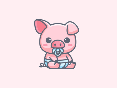 Baby Pig newborn little fun playful pink toddler apparel illustrative branding brand identity logo adorable cute pacifier diaper piglet animal pig baby
