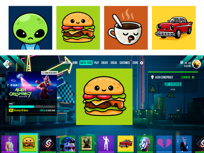 Crayta Player Cards happy friendly illustrative icon multiplayer car avatar coffee alien art gaming game mascot character simple adorable cute burger hamburger player card illustration
