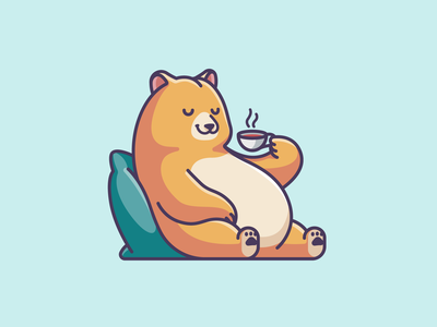Relaxing Bear sitting happy sleeping lazy animal lovely cartoon weekend time drinking brown funny adorable cute simple illustration relaxing tea coffee bear