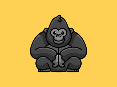 Gorilla mascot character playful cool sticker design symmetry simple illustration happy friendly smiling crouching sitting monkey kingkong ape adorable funny cute gorilla