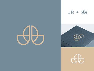 JB + Flower pictorial mark symbol simple female woman monogram jb initial waterlily flower store jewellery jewelry elegance luxury elegant brand identity branding logo