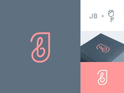 JB + Flower - Concept 2 beautiful elegant luxurious woman feminine female simple symbol pictorial mark box jewelry jb initial monogram rose flower identity branding brand logo