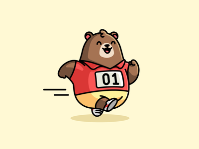 Running Bear adorable cute smiling cartoon sport positive fun playful laughing cheerful happy bear brown mascot character nonprofit community marathon runner running