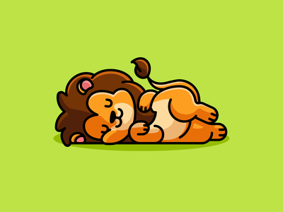 Sleeping Lion king friendly kids children lovely enjoy relaxing positive smiling happy lying down sunday lazy sleeping mascot character adorable cute illustration lion