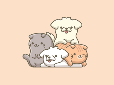 Best Friends doggy puppy kitten simple illustration cartoon anime japanese kawaii kids children cuddling pet animal dog cat adorable funny cute friend