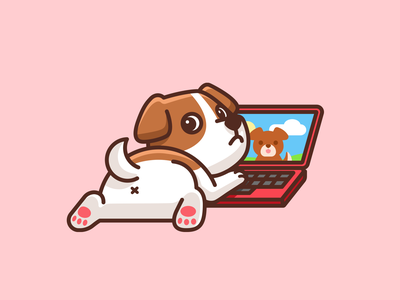 Dogflix and Chill doggy pet butt video call laptop watching episode adorable cute illustration funny puppy animal dog chill night weekend saturday movie netflix