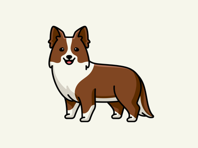 Border Collie sheep intelligent animal smile happy lovely canine adorable cute brown puppy pet doggy cartoon mascot character illustration breed dog border collie