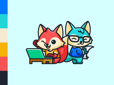 Thunk Characters thunk cartoony neat messy personality laptop children child happy critic content publisher writer comic cartoon cute mascot illustration character fox